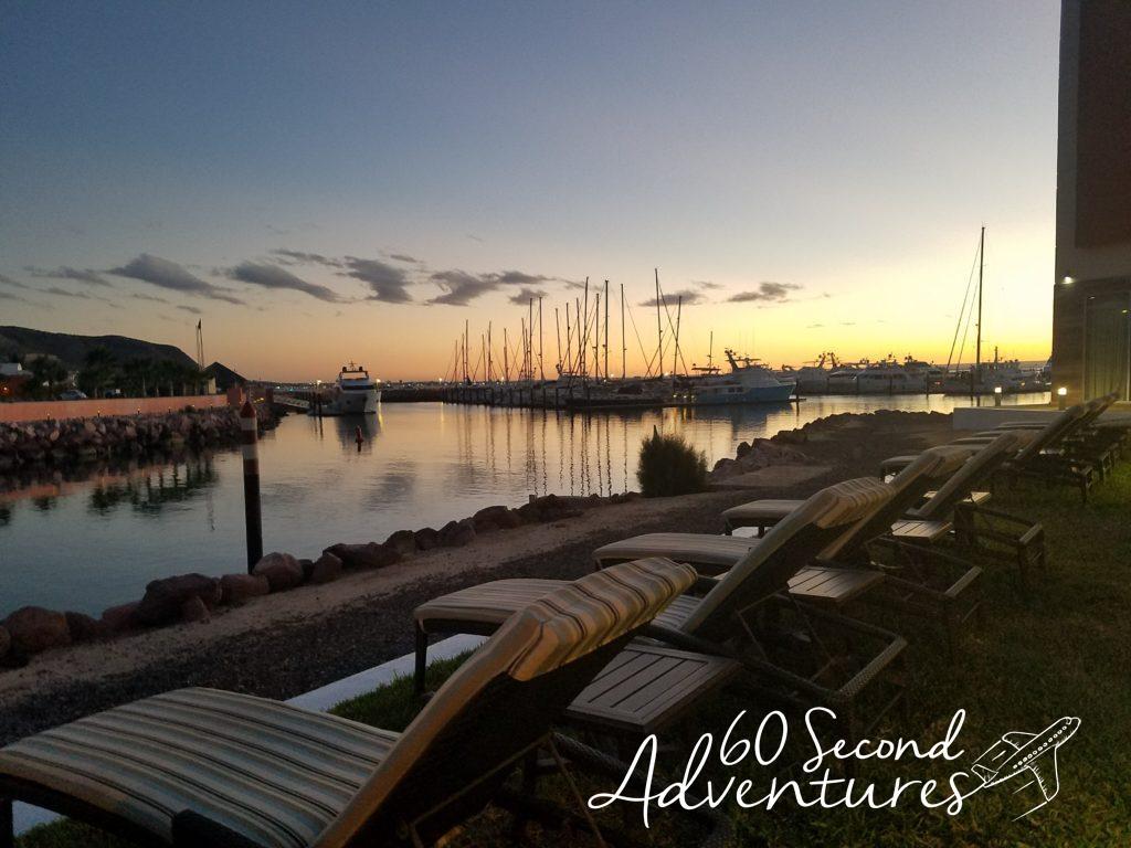 hyatt, la paz, pool, sunset, harbor
