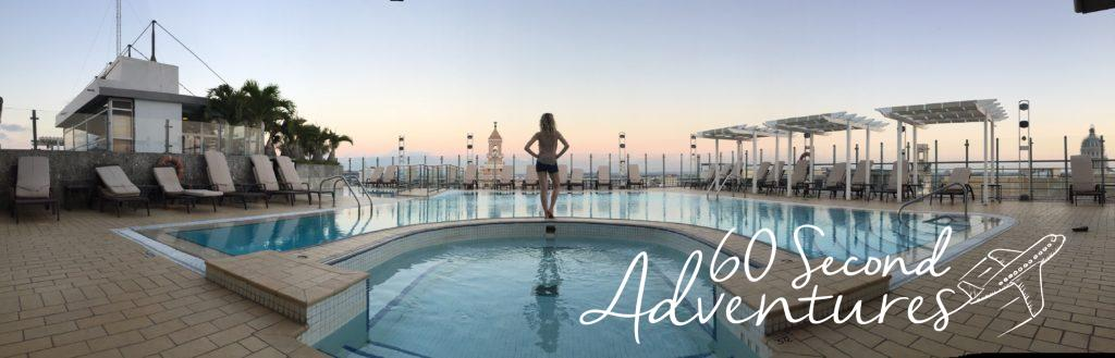Havana rooftop pool, hotel pool, havana, cuba, free, sneak in